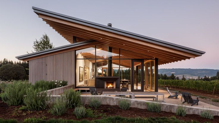 Wine tasting room goes sleek and minimalist in Oregon - Curbedclockmenumore-arrow : It's found at L'Angolo Estate in Newberg
