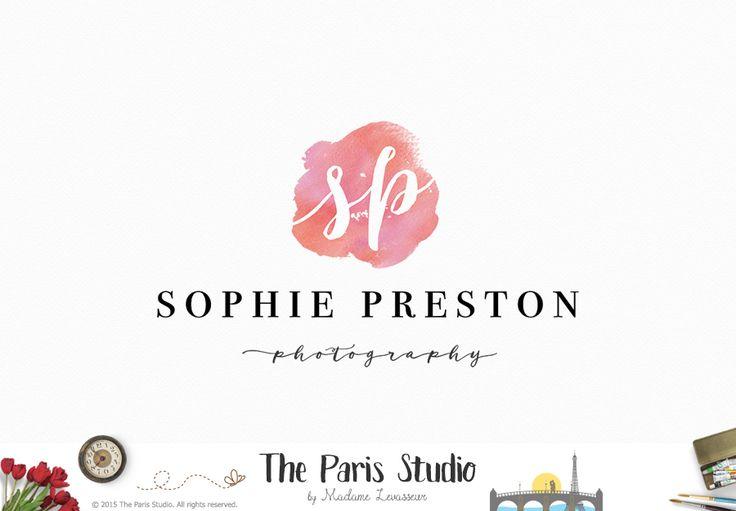 Watercolor Monogram Logo Design - photography logo, website logo, boutique logo, creative