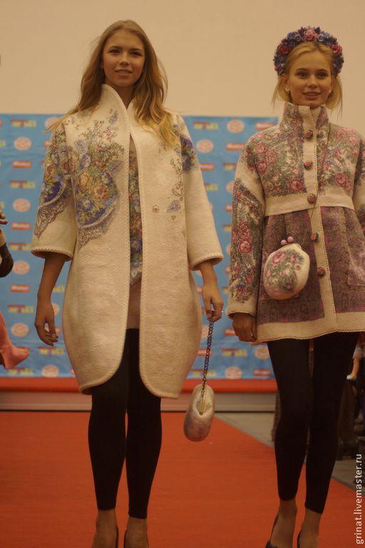 """Купить Валяное пальто""""Отрада"""" - белый, цветочный, валяное пальто, пальто из войлока, оригинальное пальто, grinat"""