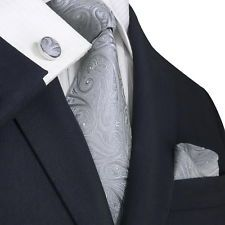 Landisun B23N Silver Grey Paisley Mens Silk Neck Tie Set: 3 Days Deal