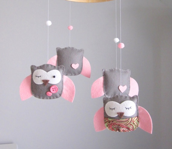 Baby Crib Mobile  Baby Mobile  Owl Mobile  Pink by LoveFeltXoXo, $70.00