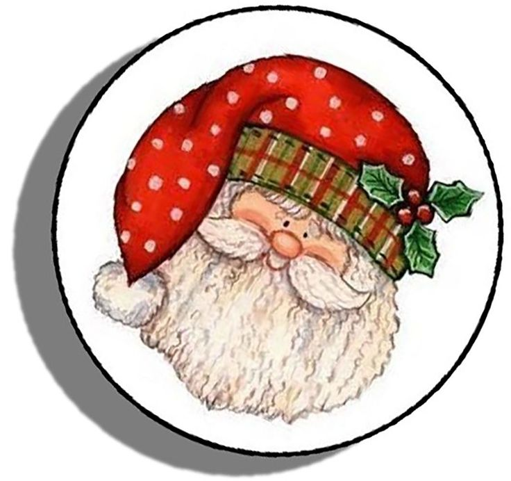 "Amazon.com: Custom & Decorative {1.2"" Inch} 48 Piece Pack of Mid-Size Stickers for Arts, Crafts & Scrapbooking w/ Christmas Time Bundled Up Cartoon Santa's Face Style {Orange, Green, White, & Black}"