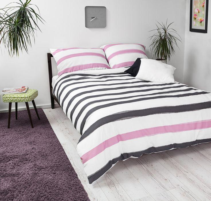 Bedroom with White Pocket pink & black bedding #stripes