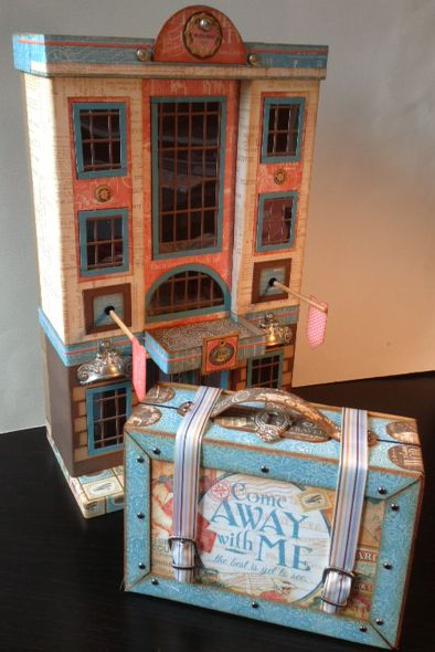 "Laura Denison for G45 using the ""Come Away with Me"" collection to make the G45 hotel and suitcase mini album; June 2014"