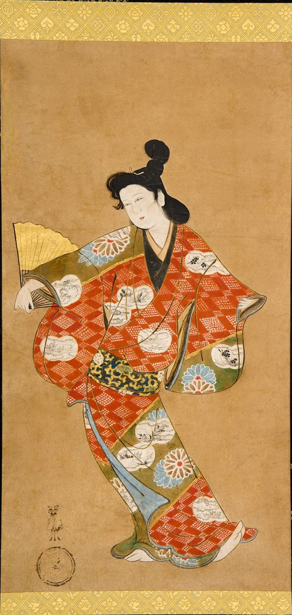 Anonymous, Dancing Courtesan, Japan, Edo period (1615–1868), late 17th century, Hanging scroll, ink, color, and gold on paper