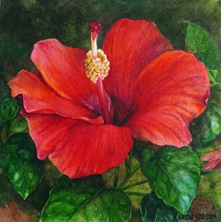 Karen Sioson Watercolors: Red Hibiscus… With Girl Love this pallete, and the way it's used in this form. Gorgeous.