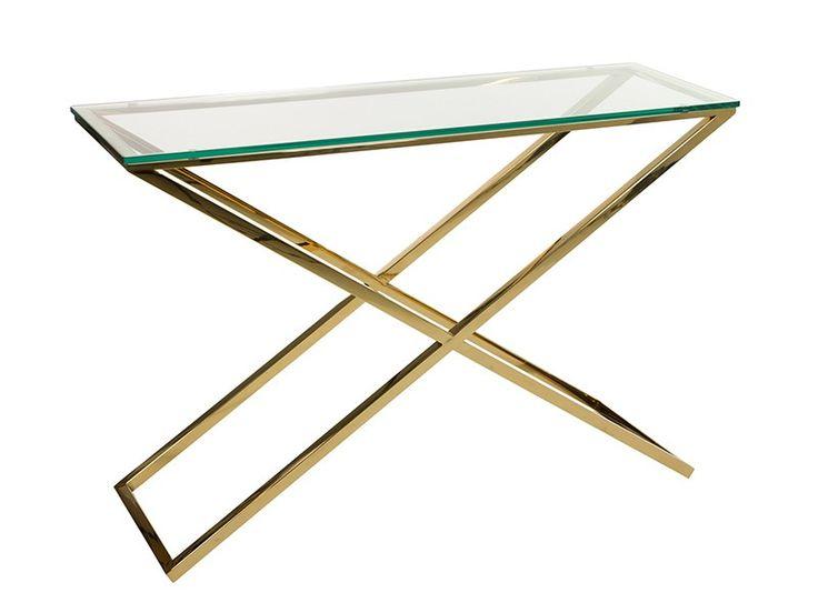 Comprar consola de diseño con patas de acero inoxidable en color dorado y encimera de vidrio templado. Ideal para dar exclusividad a tu entrada.