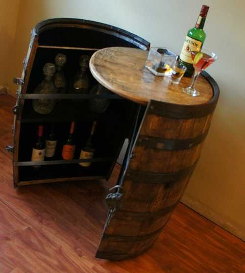 1000 ideas about whiskey barrel bar on pinterest barrel for Built in drinks cabinet