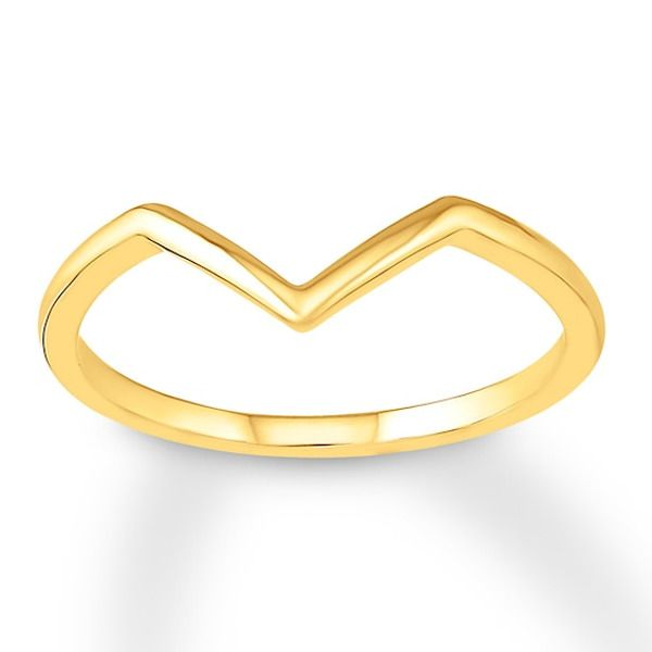 Chevron Ring 10k Yellow Gold In 2020 With Images Chevron Ring Gold Rings For Her
