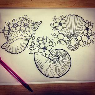 traditional seashell tattoo - Google Search