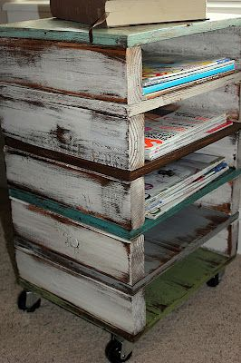 wood pallets, recycle, upcycle, repurpose, moveable shelving idea from The Crafty Blog Stalker. Note we can get free pallets from EH & store glass sheets in these