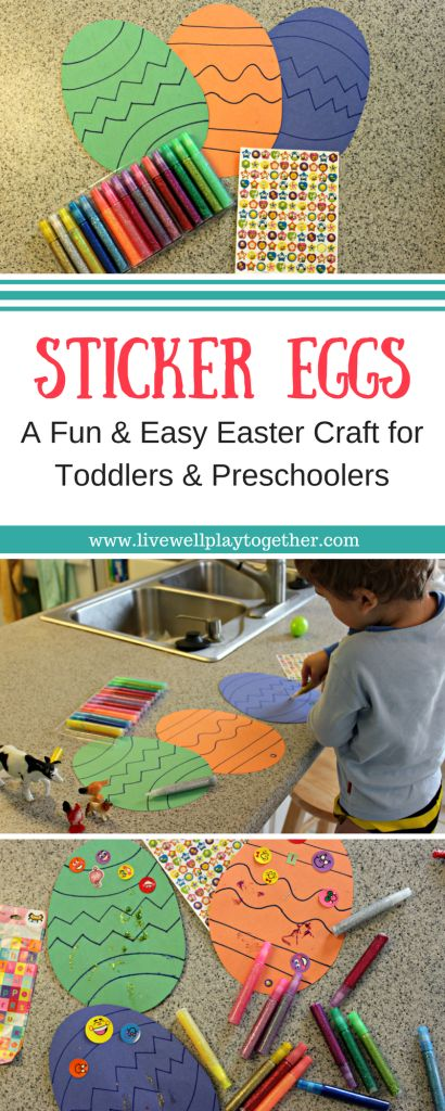 0e028bf2121e7502d3b5822159465056 Sticker Eggs are a fun and easy Easter craft that your toddlers and preschoolers...