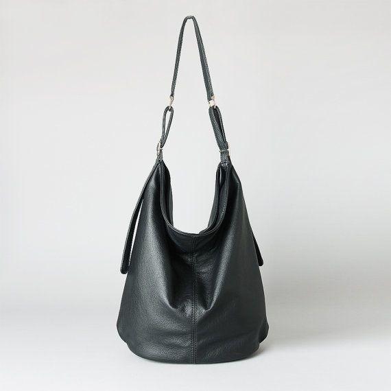 schwarzes leder hobo tasche tasche umh ngetaschen aus. Black Bedroom Furniture Sets. Home Design Ideas