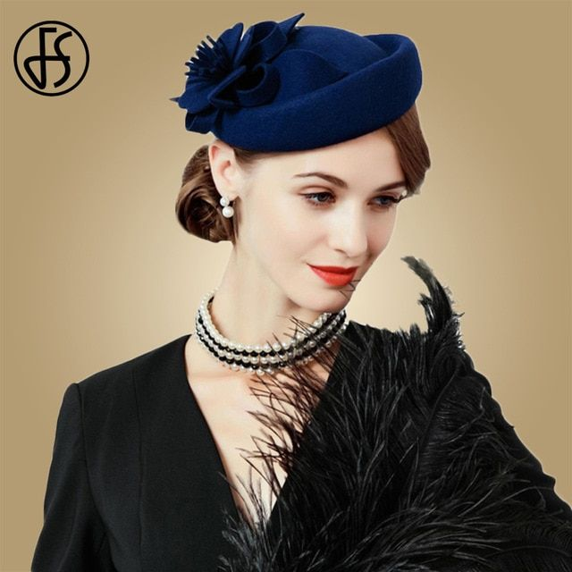 0a5f78fc3 Fascinators For Women Elegant Wool Felt Hats Navy Blue Black Pillbox Hat  Ladies Wedding Floral Formal