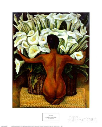 Diego Rivera - Akt med kallor|Nude with Calla Lilies Konsttryck