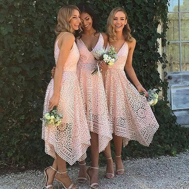 Short, Lace Dresses for Bridesmaids #bridesmaids