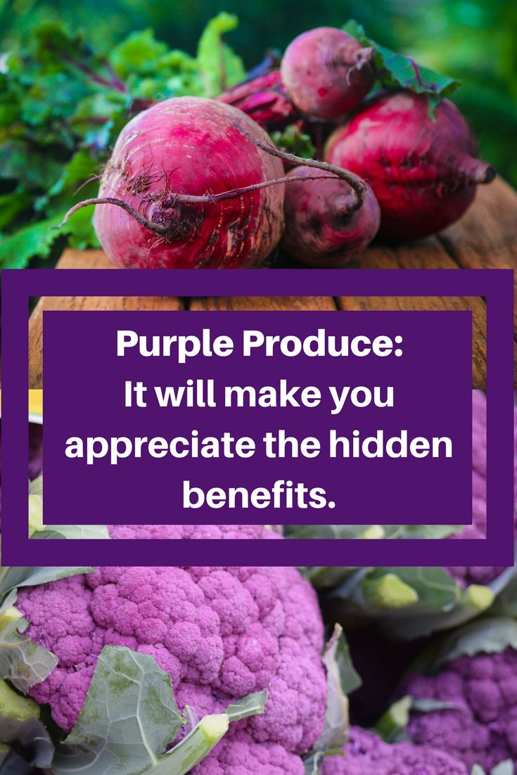 The benefits of purple produce are many. In its nature, the rich dark purple / red colour contains health promoting chemicals called anthocyanins which have amazing antioxidant properties. At a cellular level it helps protect and heal cells, which is said to also help reduce the risk of cancer, stroke and heart disease.