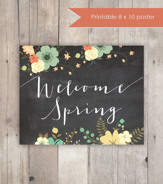 Printable Chalkboard Welcome Sign Welcome Spring by KandCCreative, $5.00