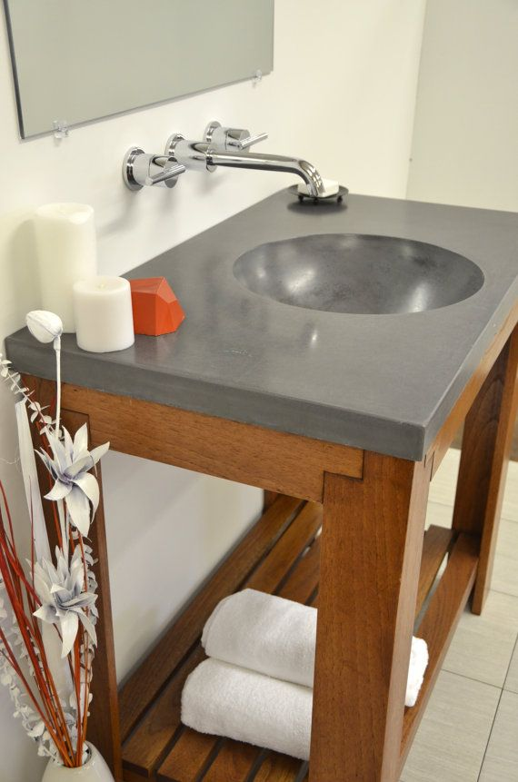 Image Gallery Website Concrete Ramp Drain Vanity Top Sink by ArtifactConcrete on Etsy
