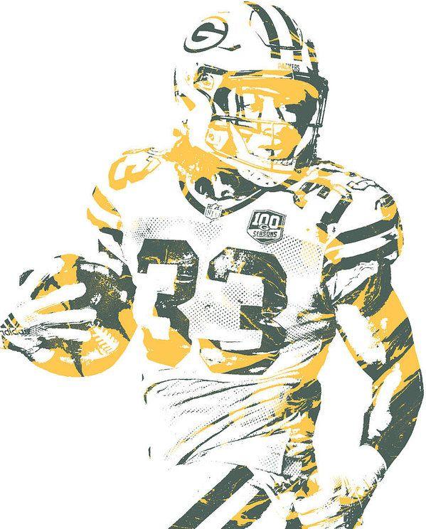Aaron Jones Green Bay Packers Pixel Art 4 Art Print By Joe Hamilton Pixel Art Green Bay Sports Art