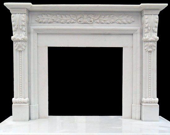 hinsdale fireplace white marble mantel artisan kraft