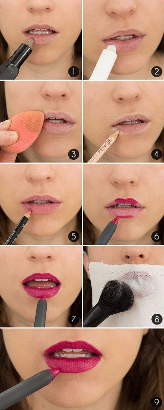 Haz que tu lipstick duré horas con un lápiz nude y polvo traslúcido. | 14 Trucos de belleza que cambiarán tu rutina de maquillaje para siempre