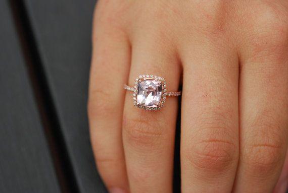 Ice Peach Sapphire Ring. 14k Rose Gold Diamond Engagement