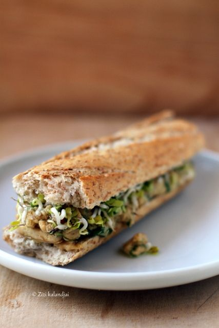 Roasted Tofu Sandwich with Peanut Sauce    mmmm get a whole grain baguette from Panera for this recipe!! yum yum!