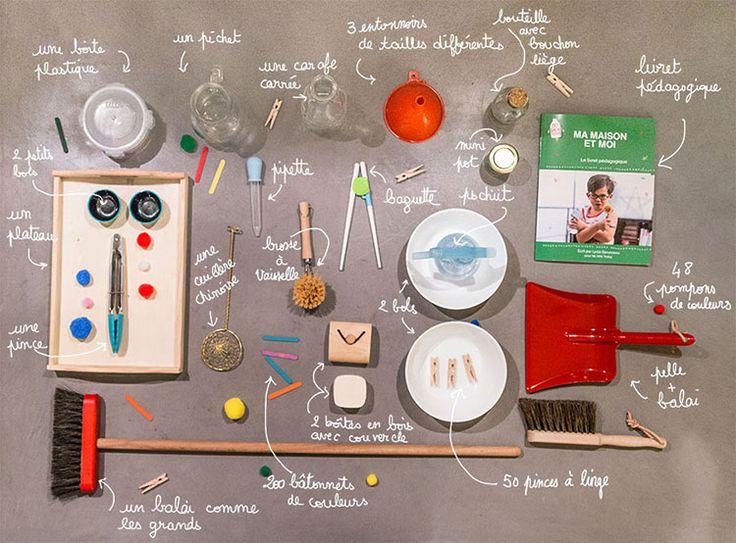 enfant, période sensible, l'ordre, découverte, maison, attention, doigts, poignet, box, ménage, exercises, plateaux, Montessori, accessoires, concentration