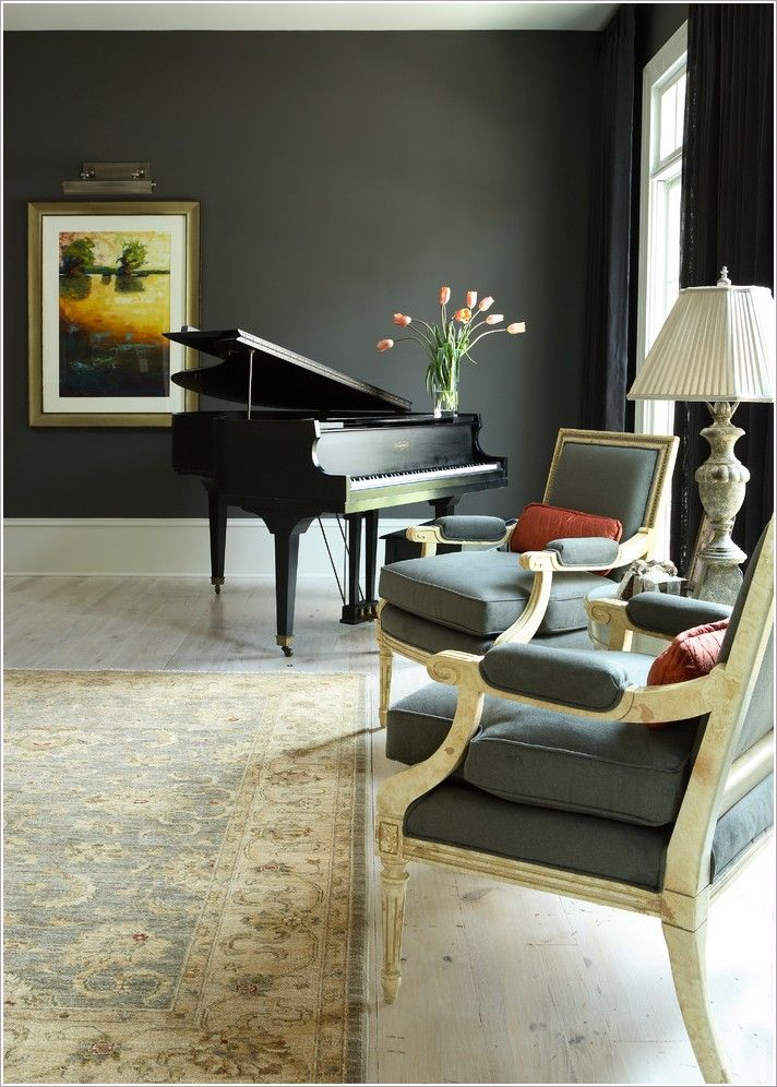 ... Round Wooden End Table Complete With Classy White Table Light Combine  Ash Wooden Flooring Feat Black Grand Piano Decorating And Persian Motive  Carpet ...