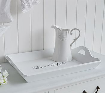 Large White Tray With Handles White Home Decor And Accessories For Coastal French