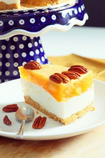 #sernik #bezpieczenia #nazimno z brzoskwiniami i orzechami. #delektujemy #bakalland #cheesecake #cake