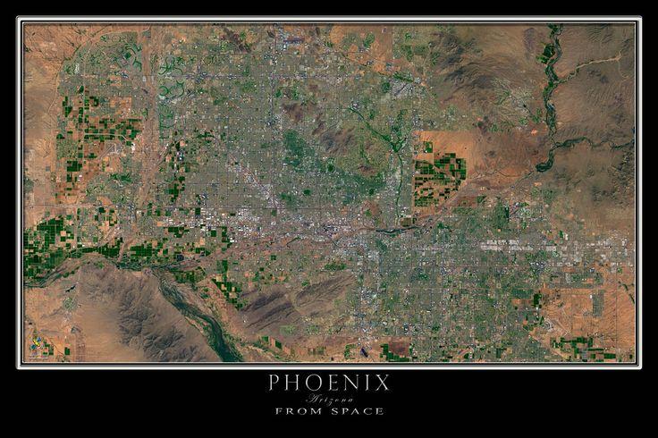 Greater Phoenix Arizona Satellite Poster Map
