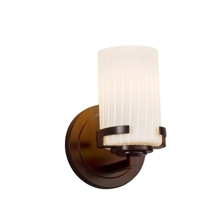 Justice Design Fusion Atlas Dark Bronze Wall Sconce, Ribbon Cylinder with Flat Rim