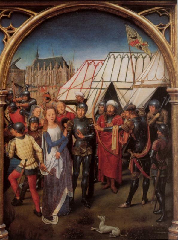 Ганс Мемлинг (нем. Hans Memling, 1433-1494). Мученичество: Сцена 1 Ursulaschrein 1489 (Брюгге, Memlingmuseum)