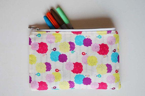 Cute Pencil Pouch. Makeup Bag. Cute Birds Makeup by StudioAPlus