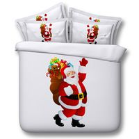 Luxury Christmas Gift Classic Santa Claus Print 4 pcs Bedding Sets Duvet Cover Bed Bedspreads Single Bed Sheet Queen Super King