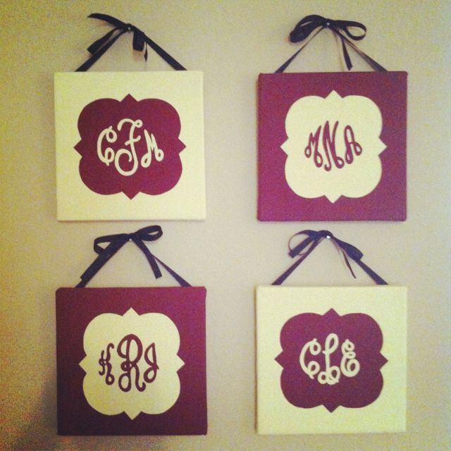 Phi Mu Quat decorations with monograms! This would be adorbs in the apartment!