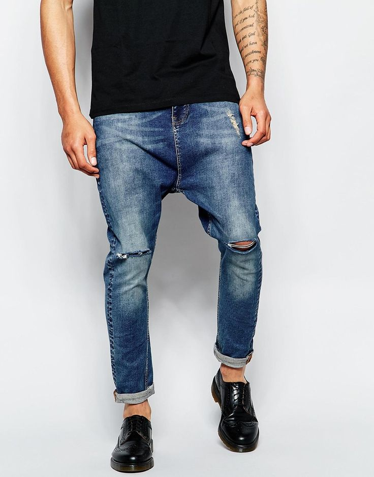 Image 1 ofASOS Drop Crotch Jeans With Knee Rips In Blue