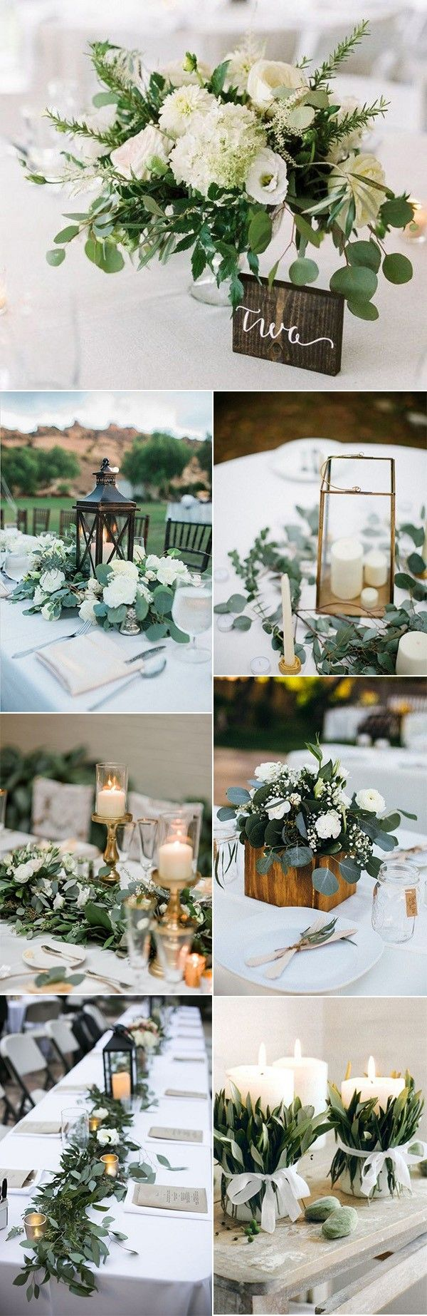 trending white and greenery chic wedding centerpieces #weddingtrends #weddingideas #weddingdecor #weddingcenterpiece #greenerywedding