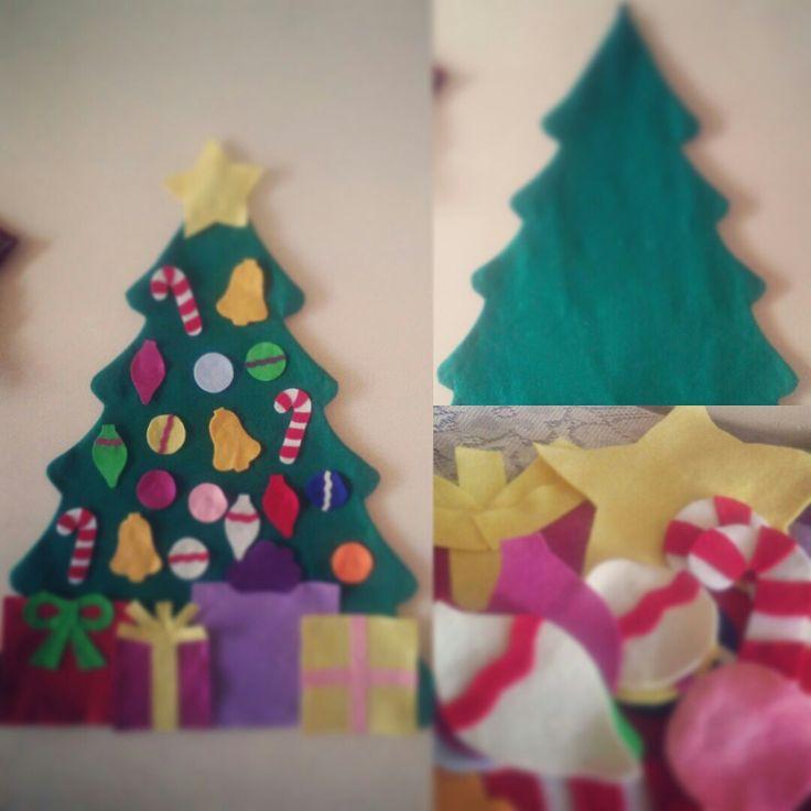 Un arbolito para los peques de la casa, ellos lo podrán adornar como quieran #noserompe #fieltro #yasoyniñogrande #navidad #árbolnavideño