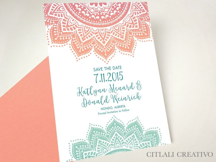 Ombre Mandala Indian Wedding Save the Dates