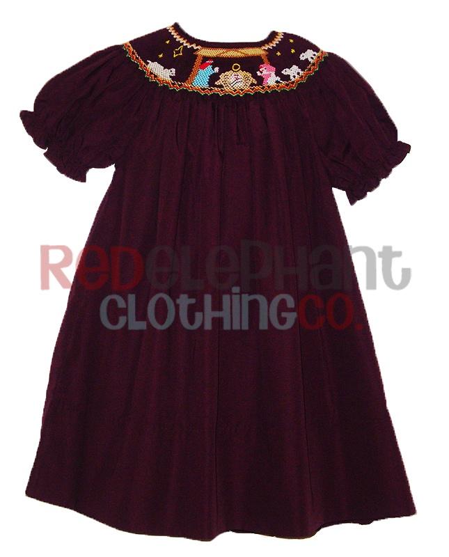 Smocked Christmas Dress for girls