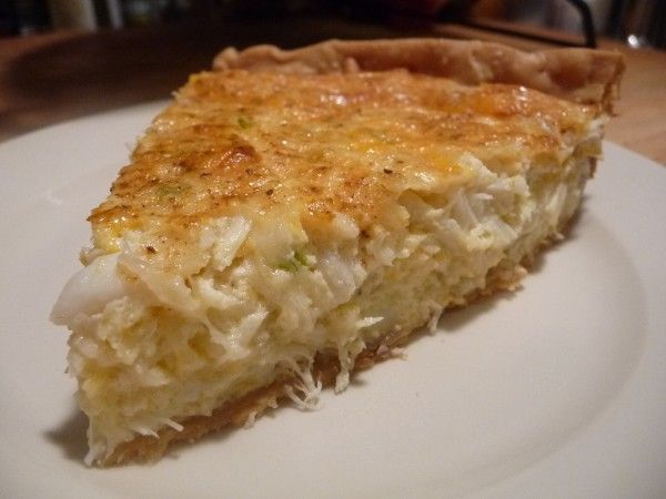 Crab Pie/Appetizer --- THM S modifications: make crustless, or make almond flour and butter crust. Omit flour. Sub out whole milk with almond milk and heavy cream mixture.