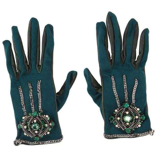 Preowned Chanel Paris-londres Collection Emerald Faux Pearls Crystal... (6.275 NOK) ❤ liked on Polyvore featuring accessories, gloves, green, karl lagerfeld gloves, green gloves, jersey gloves, green jersey and karl lagerfeld