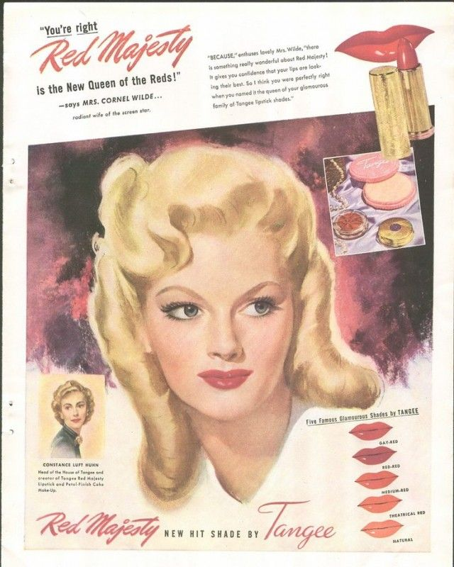 """Authentic 1940s Makeup History and Tutorial.""""Red Majesty"""" by Tangee lipstick. 1940s lipstick was always red with a tinge of blue or orange depending on complexion."""