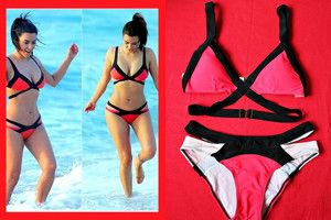 Kostium kąpielowy/ bikini  strój kąpielowy damskie NEON CZERWONY doda siwiec swimwear swimsuit beach agent kardashian red na plażę