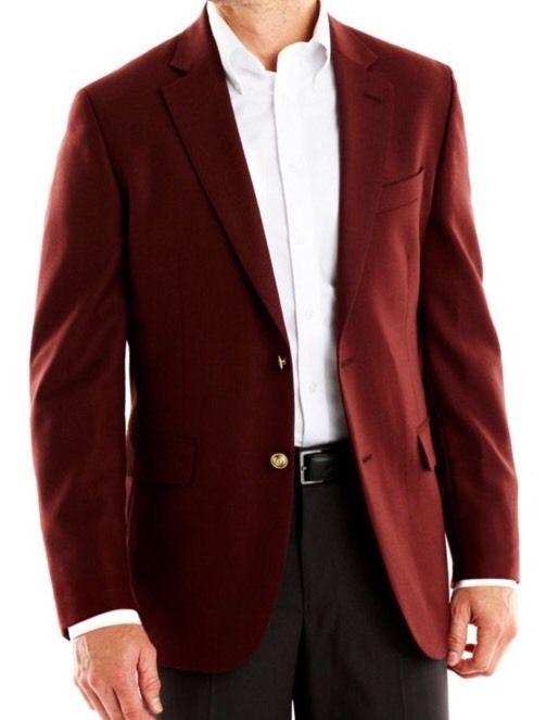 Stafford big & tall wool blazer sport coat - burgundy - size 52