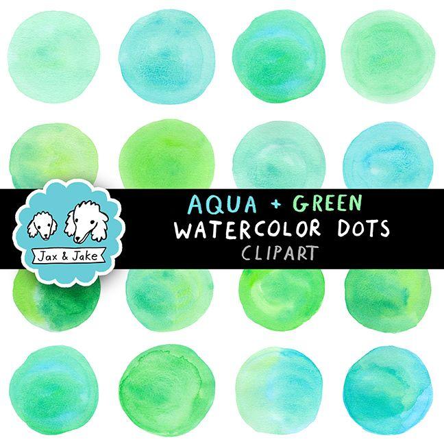 Clip Art: Aqua + Green Watercolor Dots / Circles Personal and Commercial Use OK $