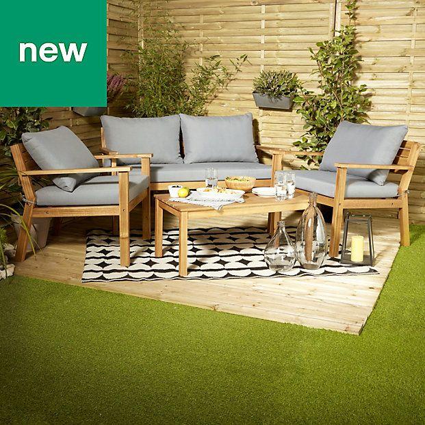 Denia Wooden 4 Seater Coffee Set B Q Garden Furniture 400 x 300